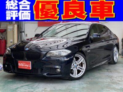 BMW 528i Mスポーツ ☆総合評価優良車☆高級感溢れるレザーシート&オプション19インチAWサンルーフ、さらに社外ダウンサス装備で見た目バッチリ🔥🔥純正HDDナビ地デジフルセグ&バックカメラ&クリアランスソナー装備でワイドボディーでも安心!!車検付きですぐにお乗り頂けます❕❕人気のブラックカラー5シリーズ🌈✨お問い合わせはお早めに💦